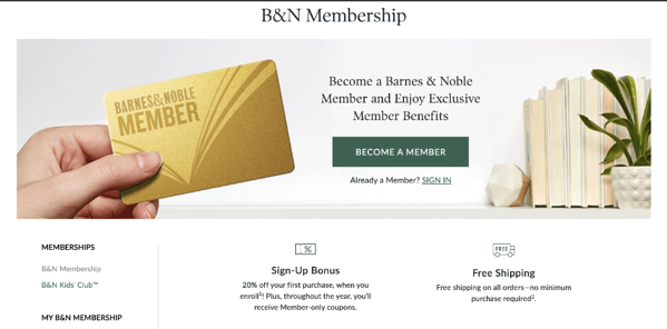 Shipping membership offer